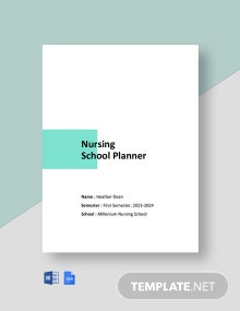 Nursing School Planner Template