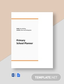 Primary School Planner Template