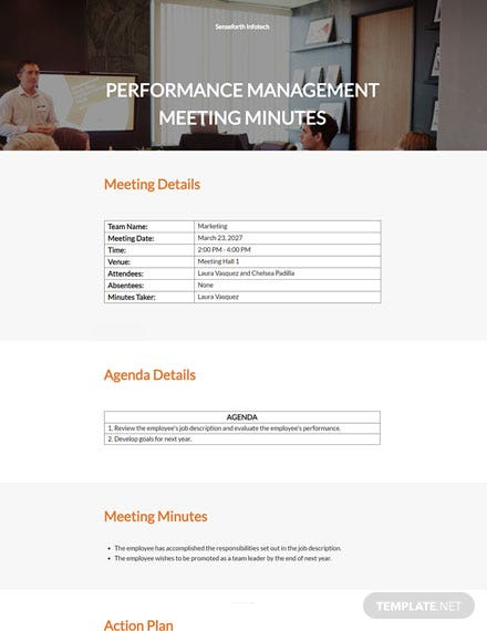 Performance Management Meeting Minutes Template