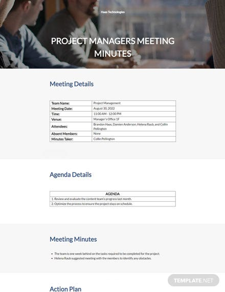 Project Managers Meeting Minutes