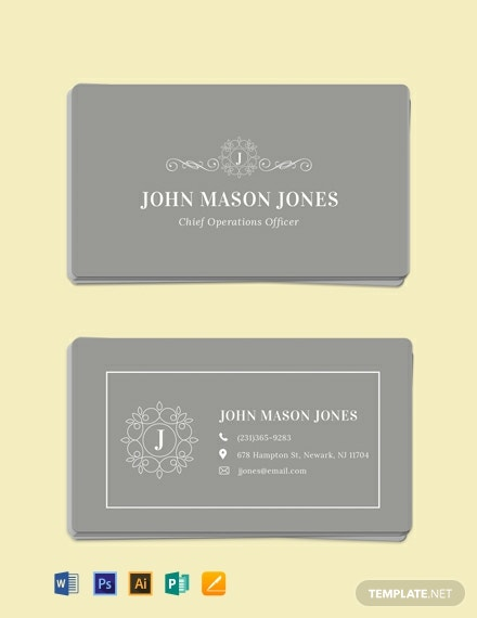 Free Elegant Business Card Template Word Psd Le
