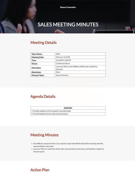 sample sales meeting minutes