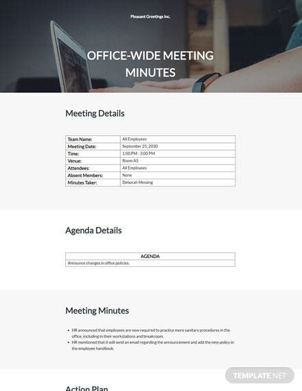 formal small meeting minutes