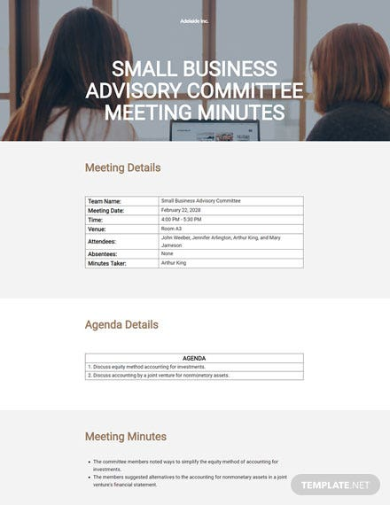 Small Business Advisory Committee Meeting Minutes