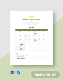 Academic School Calendar Template