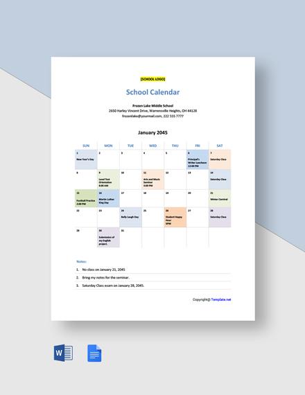 Free Sample School Calendar Template