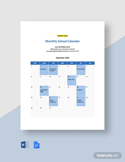 Editable Monthly School Calendar Template