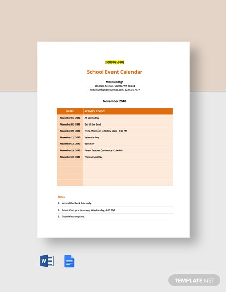 Editable School Event Calendar Template