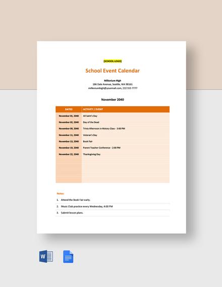 Editable School Event Calendar Template