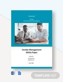 Vendor Management White Paper Template