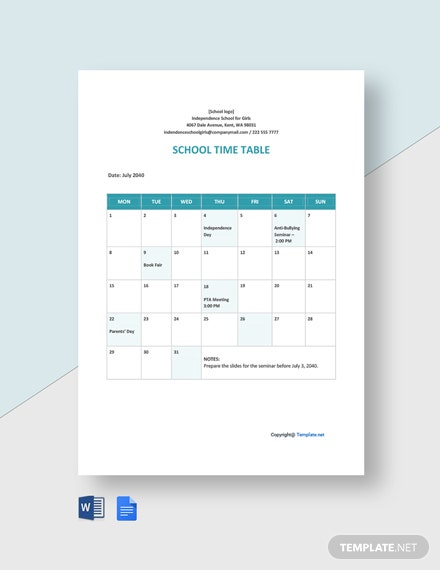 Blank School Timetable Template