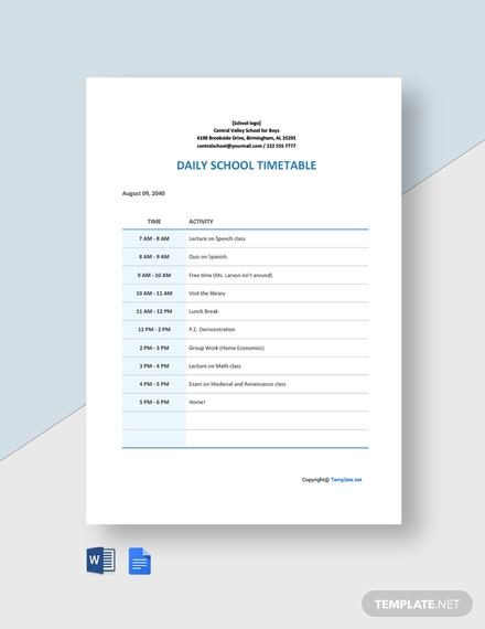 Daily School Timetable Template
