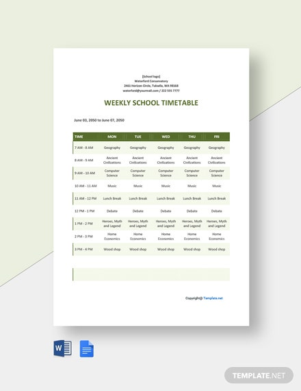 Weekly School Timetable Template