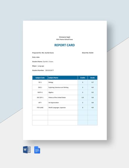Home school Report Card Template