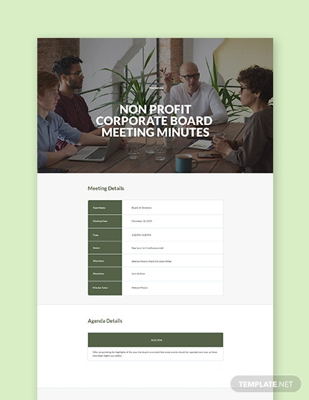 Nonprofit Corporate Meeting Minutes Template