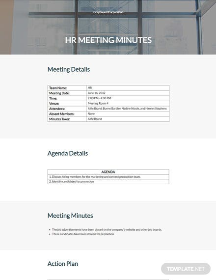 HR Conference Meeting Minutes Template