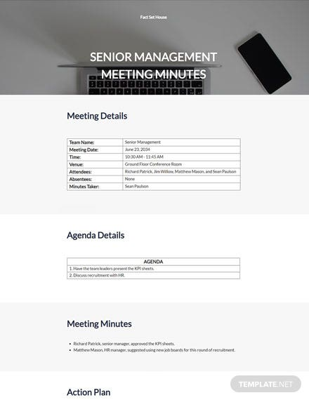 Senior Management Meeting Minutes Template