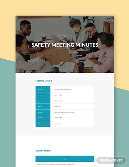 Health and Safety Meeting Minutes Template