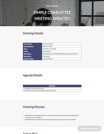 Simple Committee Meeting Minutes Template