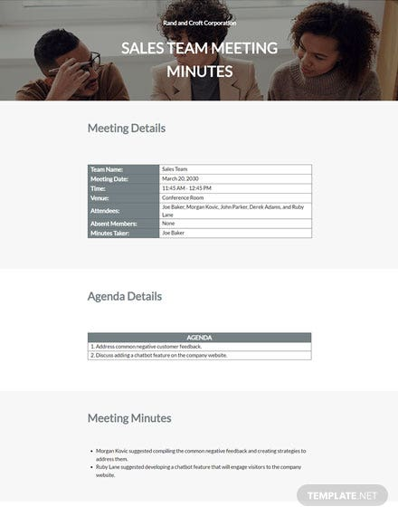 Professional Business Meeting Minutes Template