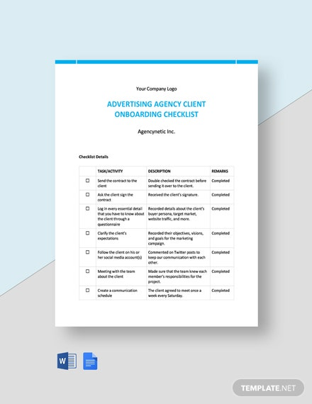Advertising Agency Client Onboarding Checklist Template