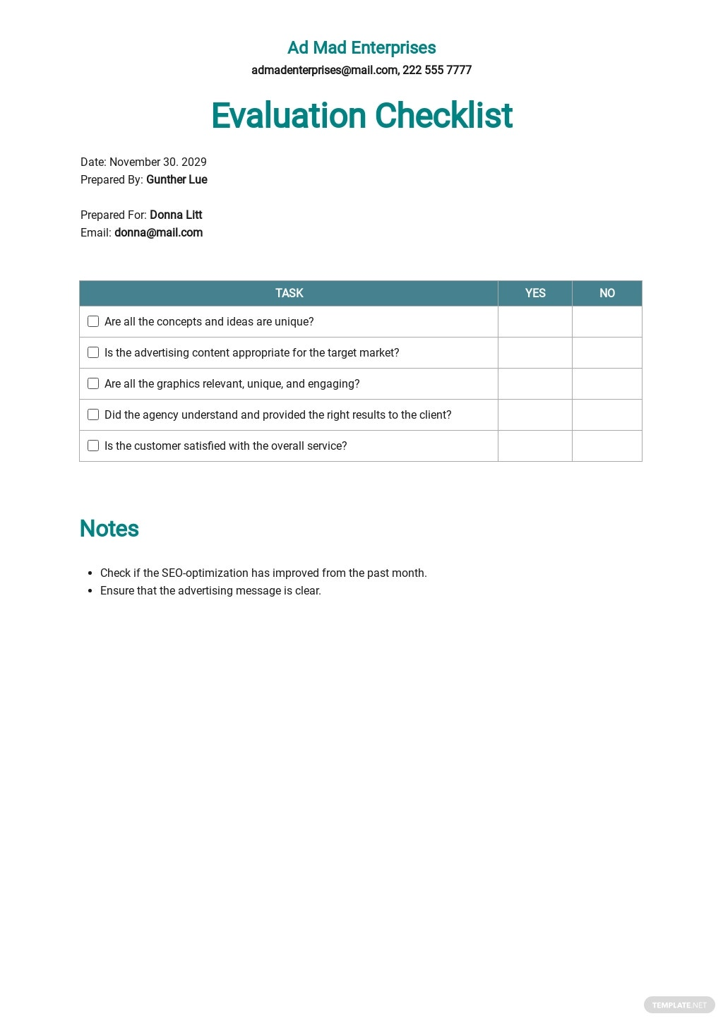 Advertising Agency Evaluation Checklist Template