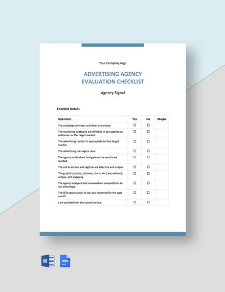 Advertising Agency Evaluation Checklist