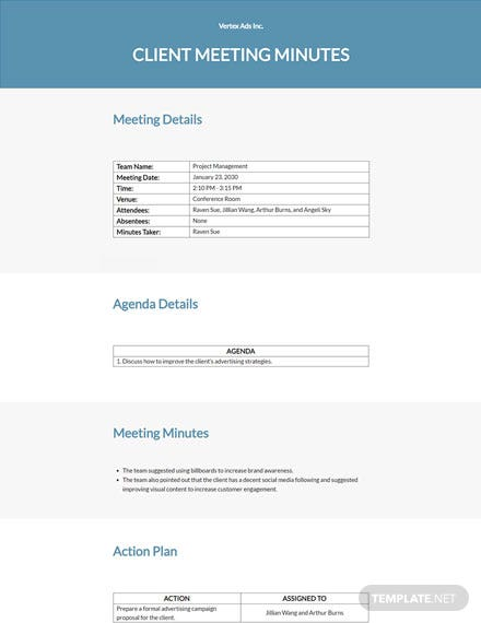 Advertising Agency Client Meeting Minutes