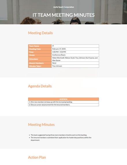 Informal Team Meeting Minutes Template