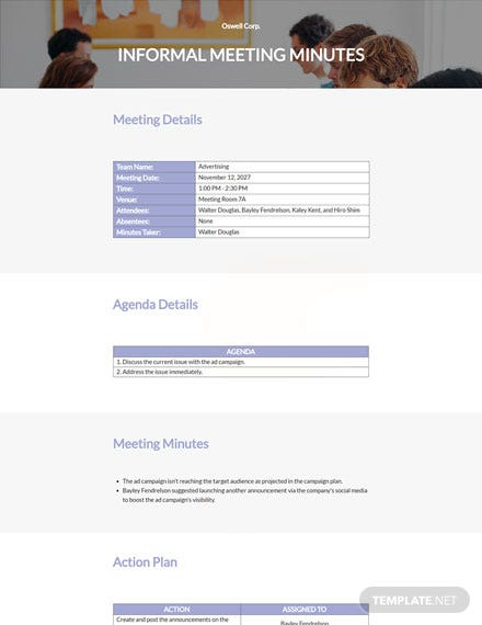 Simple Informal Meeting Minutes Template