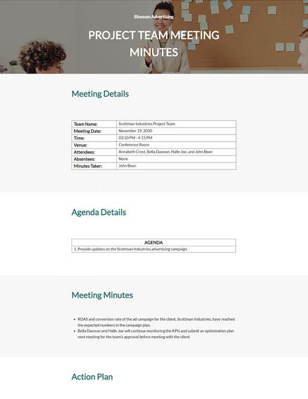 Free Sample Advertising Agency Meeting Minutes