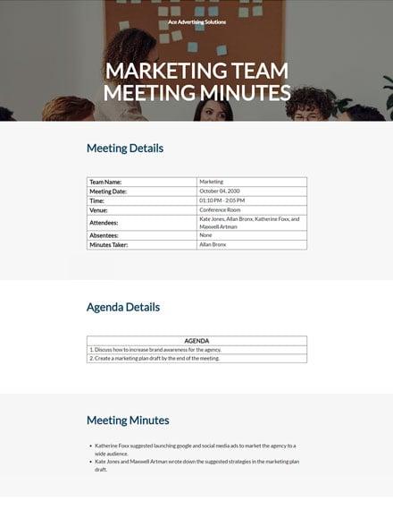 Free Simple Advertising Agency Meeting Minutes