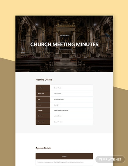Simple Church Meeting Minutes Template