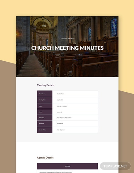 Basic Church Meeting Minutes Template