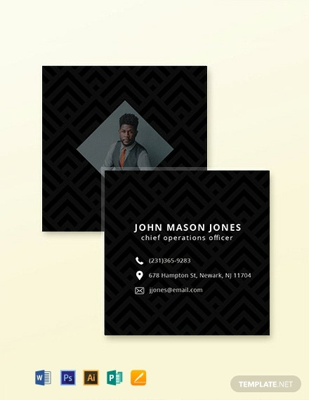 Free Square Simple Business Card Template