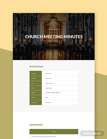 Formal Church Meeting Minutes Template