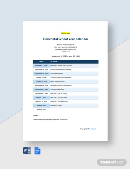 Horizontal School Year Calendar Template