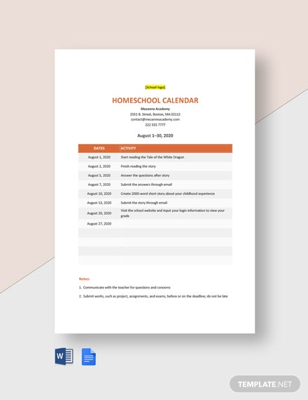 Homeschool Calendar Template