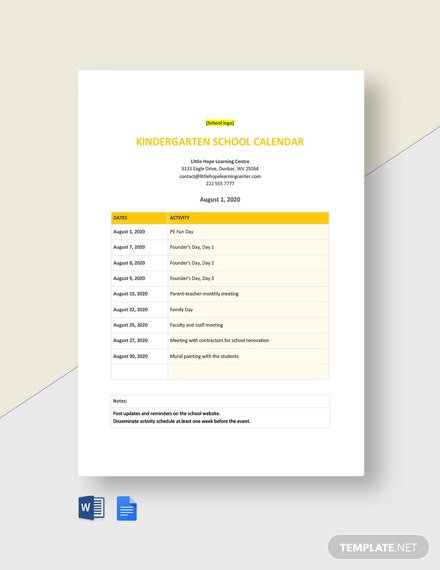 Editable Kindergarten School Calendar Template