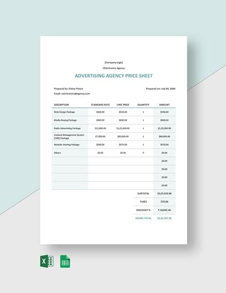 Advertising Agency Price Sheet