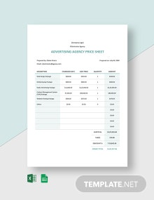 Advertising Agency Price Sheet Template
