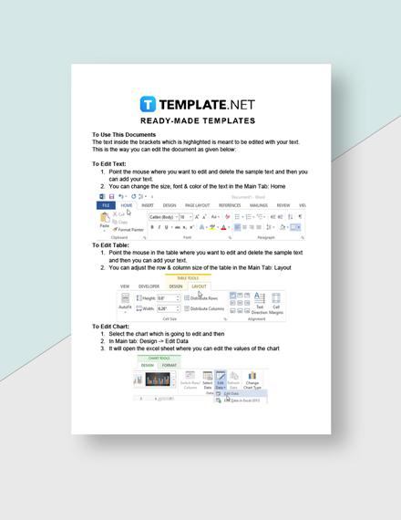 Advertising Agency Price Sheet Template