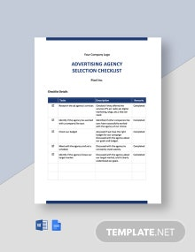 Advertising Agency Selection Checklist