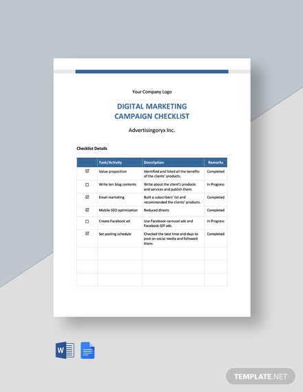 Digital Marketing Campaign Checklist