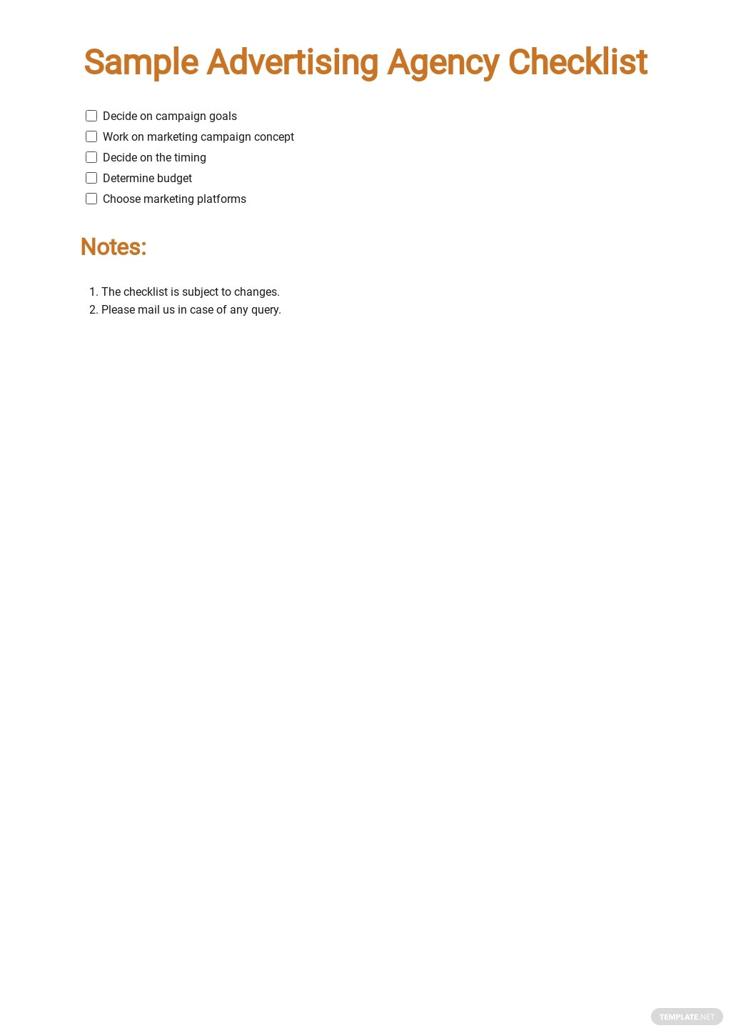 Sample Advertising Agency Checklist Template