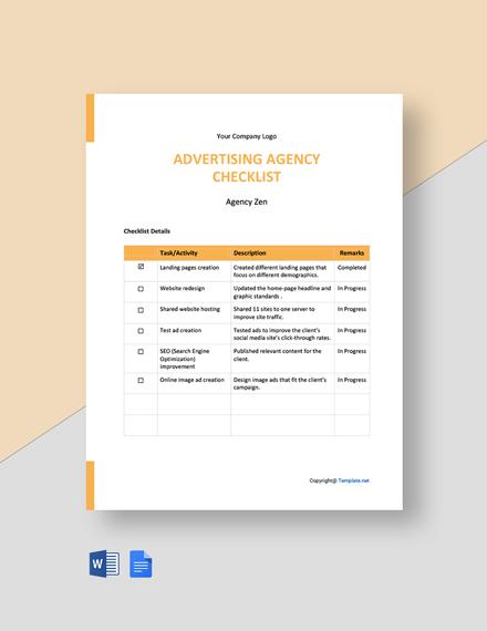 Free Simple Advertising Agency Checklist