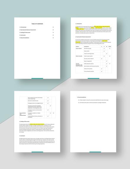 Free Sample School Report Template