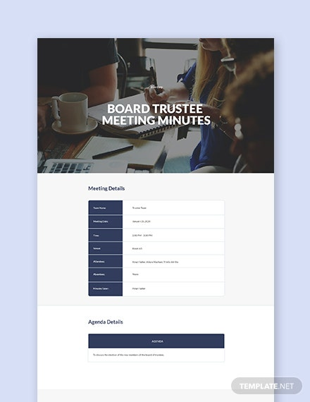 Board of Trustee Meeting Minutes Template