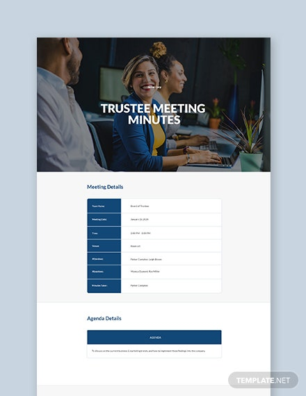Sample Trustee Meeting Minutes Template