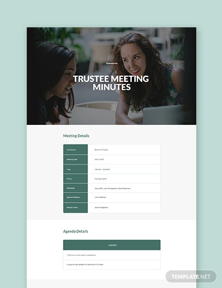 Annual Trustee Meeting Minutes Template